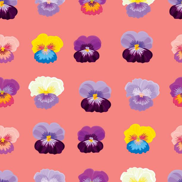 Pansies. Floral seamless pattern. Vector illustration. vector art illustration