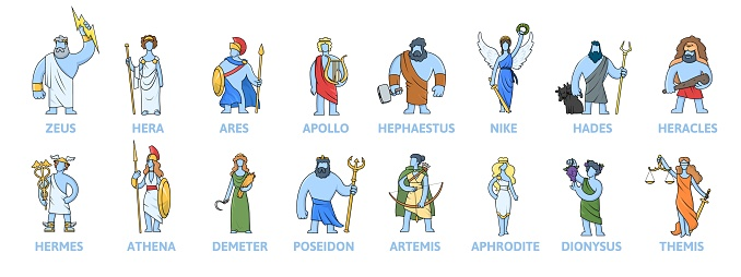 Pantheon of ancient Greek gods, Ancient Greece mythology. Set of cartoon characters with names. Flat vector illustration. Isolated on white background.