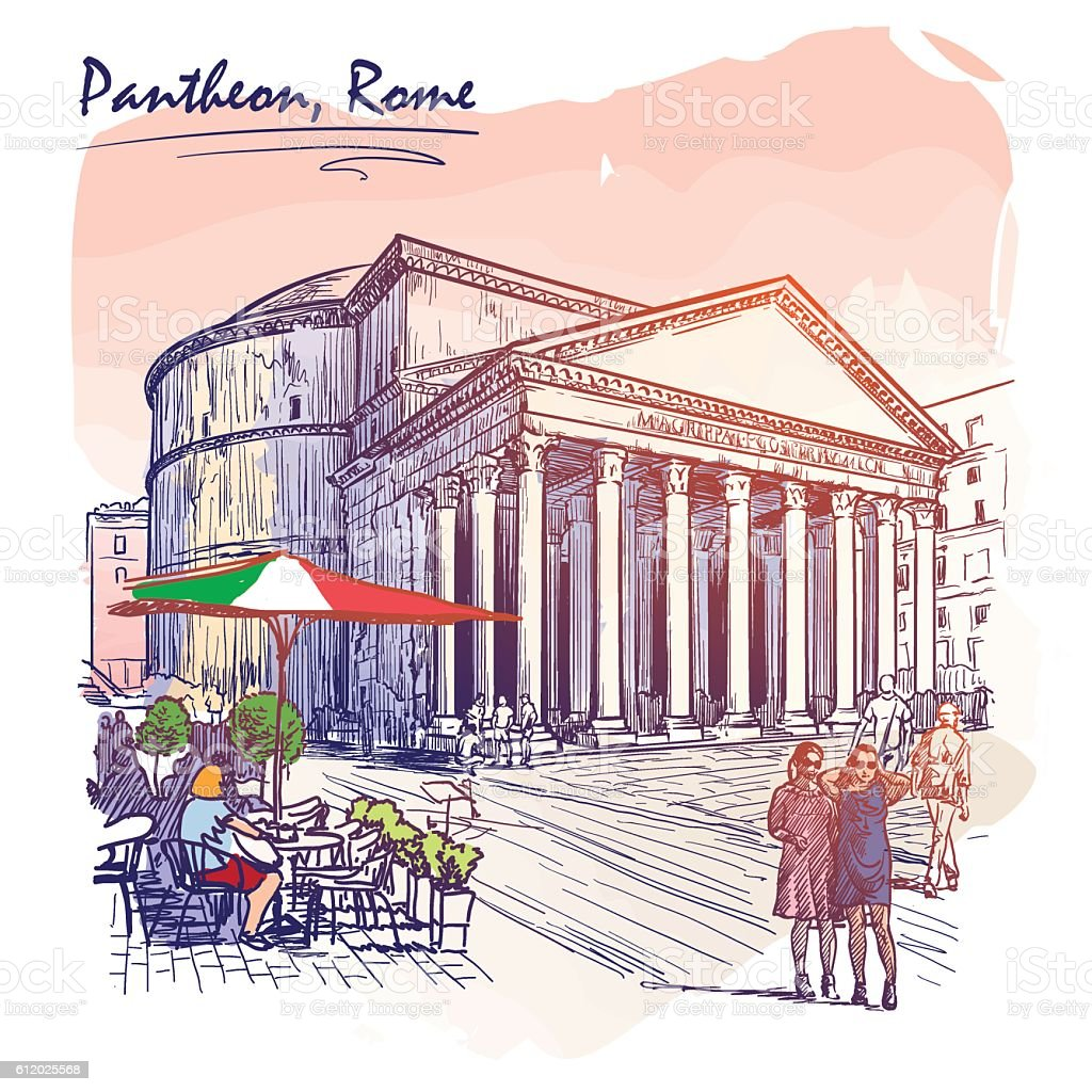 Pantheon painted sketch vector art illustration