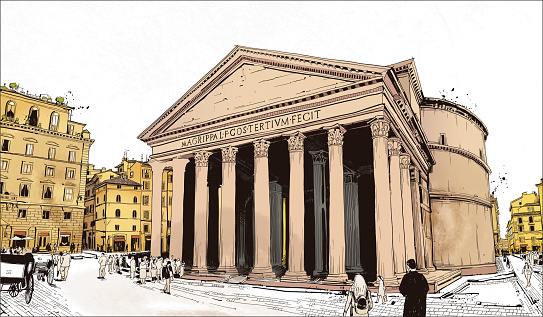 watercolor drawing of Pantheon, temple of all gods