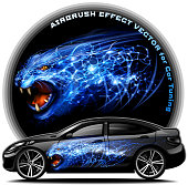 Panther Airbrush effect vector for vinyl car tuning. EPS 10.