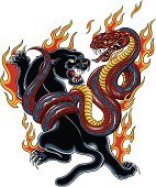 Panther and Cobra tattoo