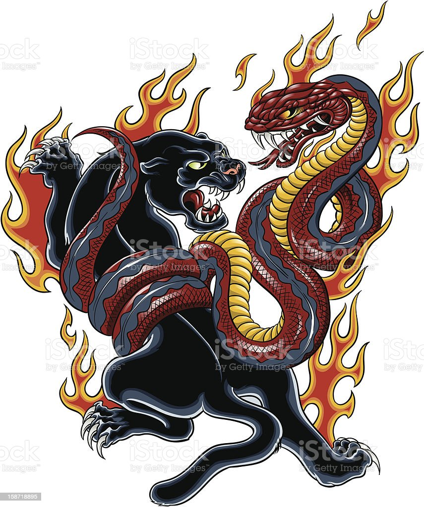 Panther and Cobra tattoo vector art illustration