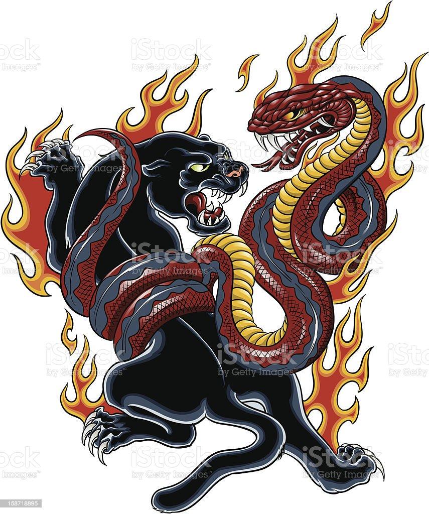 Panther y Cobra tatuaje - ilustración de arte vectorial