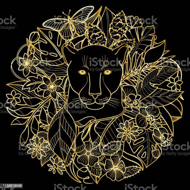 Panther and plants golden tropical pattern vector id1158328556?b=1&k=6&m=1158328556&s=612x612&h=wrhy4j2htkjpuiqofx6nokooqqow b5e ngoydzhobi=