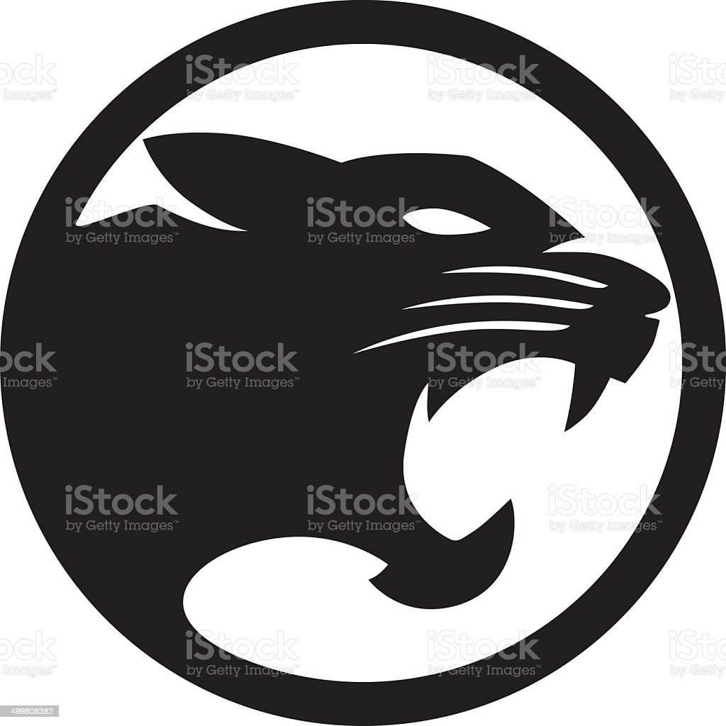 Panther Black circle vector art illustration