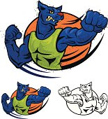 vector illustration of blue panther punching.