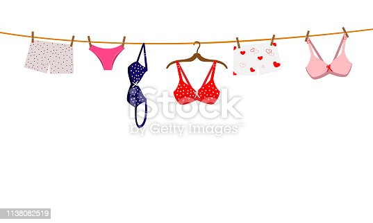 Pantie, bra and lingerie hanging on rope. Vector illustration