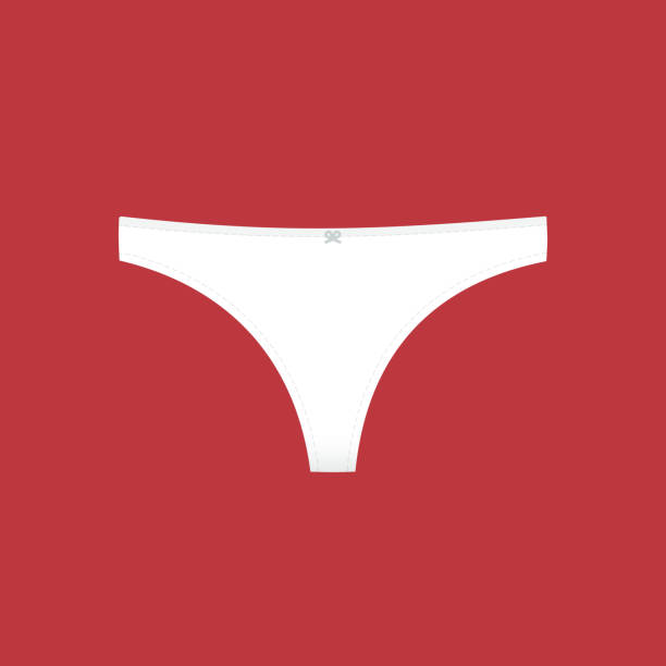Panties symbol. Woman underwear type: classic brief. Vector illustration, flat design Panties symbol. Woman underwear type: thong. Vector illustration, flat design g string bikini models stock illustrations