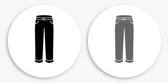 Pants Black and White Round Icon