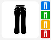 Pants Icon Flat Graphic Design