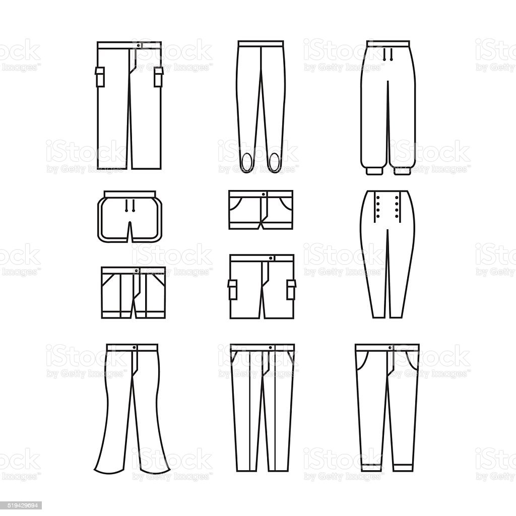 pants icons set vector art illustration