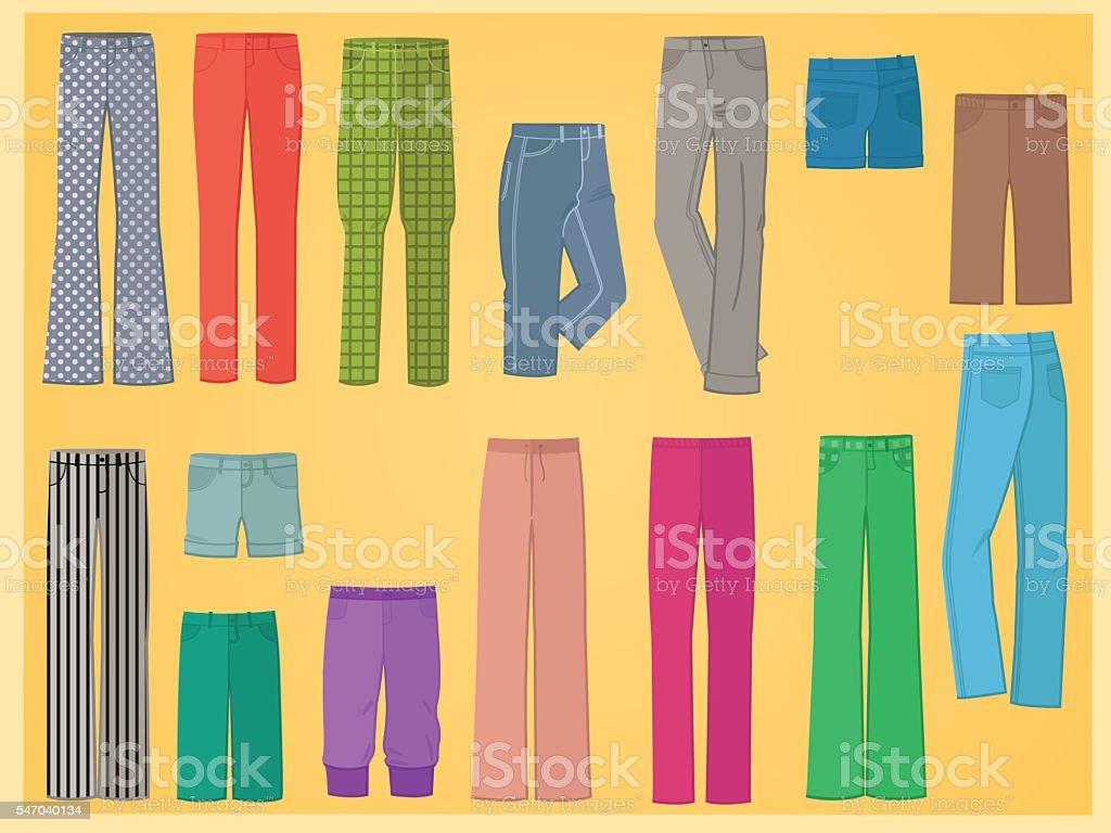 Pants in flat design vector art illustration