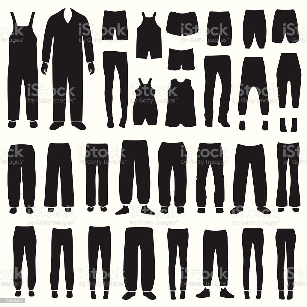 pants silhouettes vector art illustration