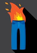 Vector illustration of a pair of pants on fire in flat style.