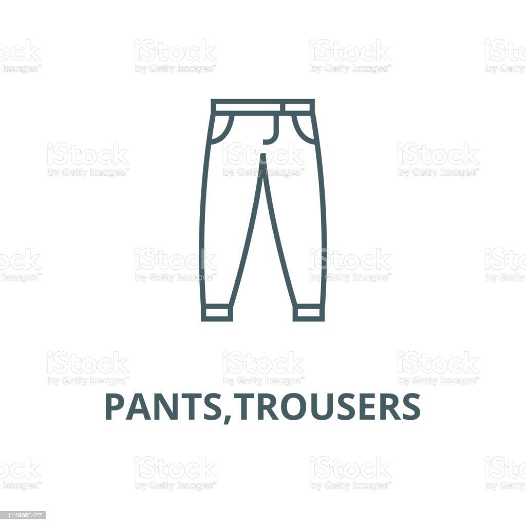 bd22e60064d ... Black Color, Button Down Shirt. Pants,trousers vector line icon, linear  concept, outline sign, symbol royalty-