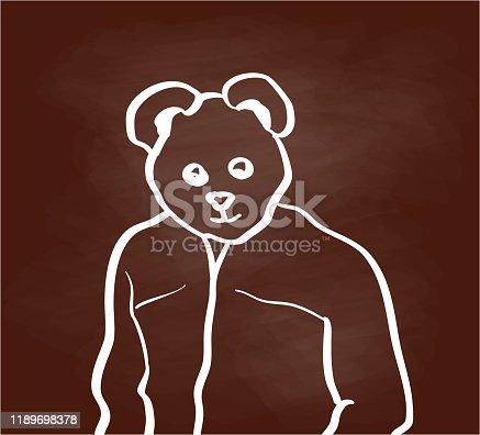 Man in his fall jacket wearing a teddy bear mask