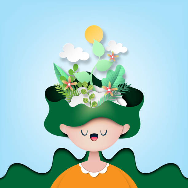 Papaer art of nature concept with woman thinking the green plant. vector art illustration