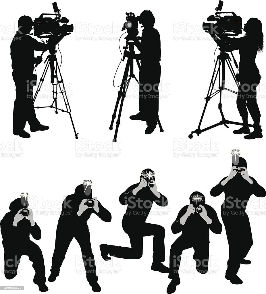 Paparazzi and Television Crew vector art illustration