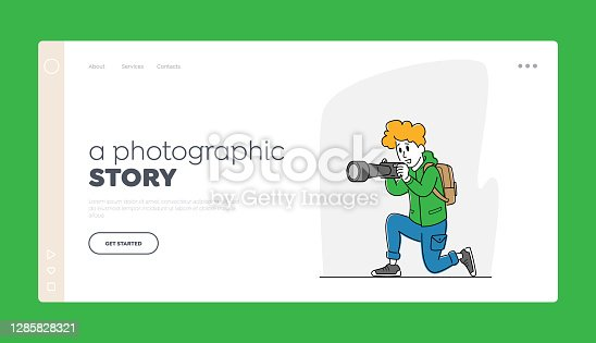 istock Paparazzi Character Landing Page Template. Female Photographer, Tourist with Backpack and Photo Camera Make Picture 1285828321