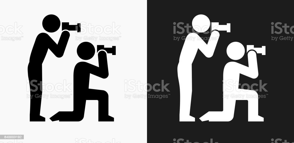 paparazzi icon on black and white vector backgrounds royalty free stock vector art