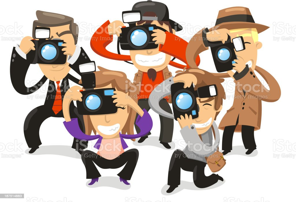Paparazzi taking pictures photograph camera vector art illustration