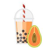 istock Papaya Bubble Tea Flavor Icon 1315249101
