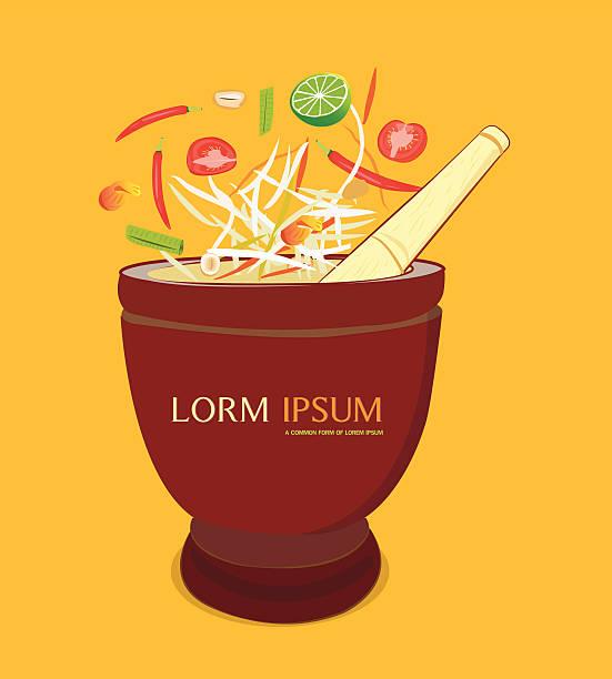 papaya salad and mortar - thai food stock illustrations, clip art, cartoons, & icons