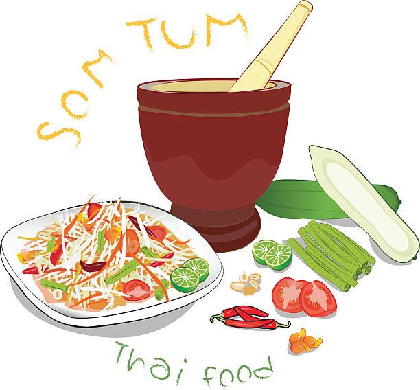 papaya salad - thai food stock illustrations, clip art, cartoons, & icons
