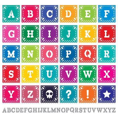 Papel Picado alphabet letters template vector set - Mexican paper design perfect party decoration