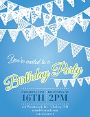 Birthday Party Invitation vertical Template With  multiple design white pennant Flags hanging horizontally and overlapping across the top on an blue background.  The white, yellow and blue birthday invitation text is in the middle of the poster under the rows pennant flags.