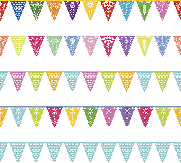 Papel Picado Banner wiederholen Muster – Vektorgrafik