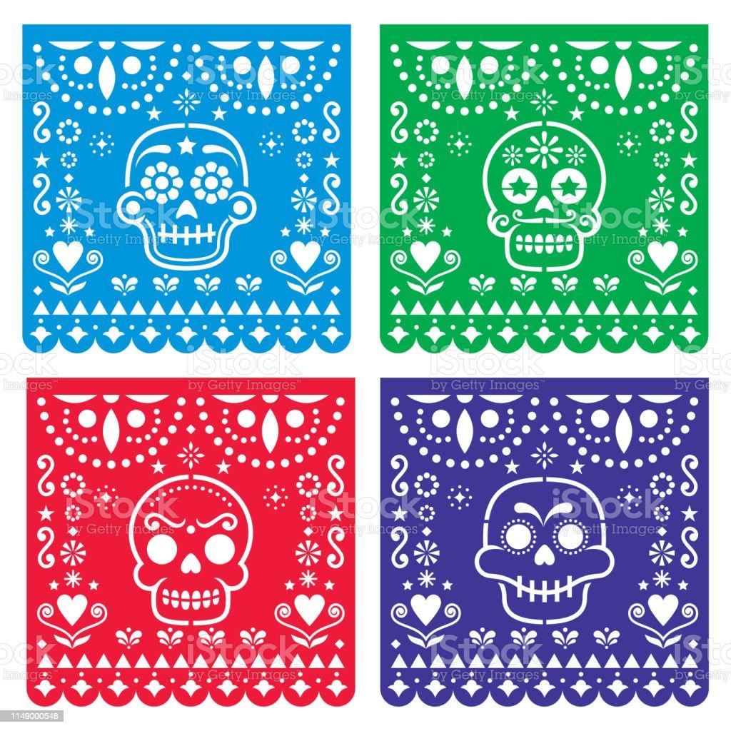 Papel Picado Design With Sugar Skulls Mexican Paper Cut