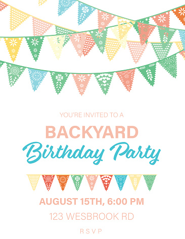 Papel Picado Flags Birthday invitation template