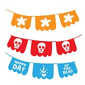 Papel picado garland with skull. Dia de los muertos. Happy Day of the Dead. All souls day, mexicano tradicional festive family holiday. Bunting. Remembering. Spanish ethnic carnival. Hand lettering.