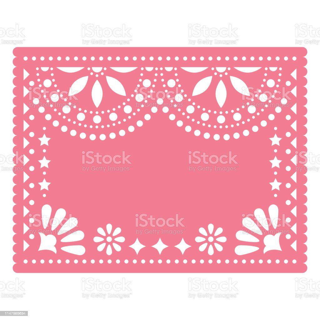 Papel Picado Pink Vector Floral Template Design With