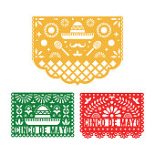 Papel Picado set, Mexican paper decorations for Cinco De Mayo. Cut out compositions design for paper garland. Vector template design.