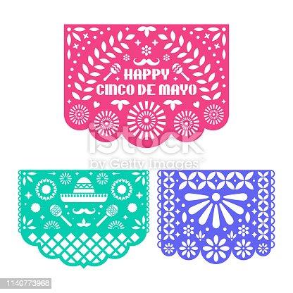 Papel Picado set, Mexican paper decorations for Cinco De Mayo. Paper garland. Vector template design.