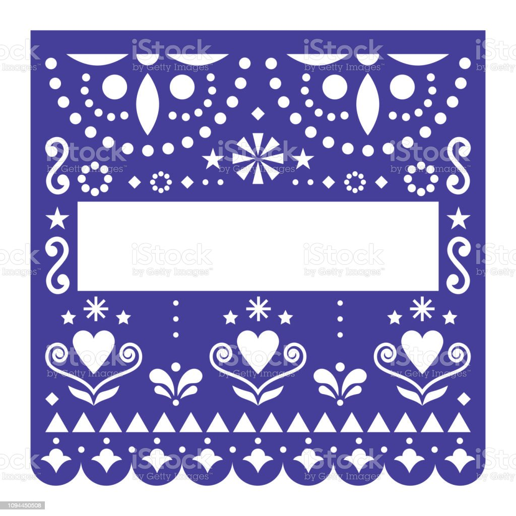 Papel Picado Template Vector Design Mexican Happy Turquoise Paper