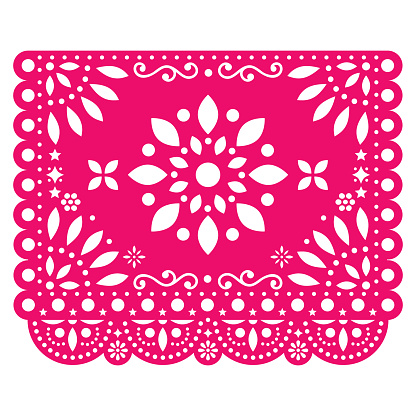 Papel Picado vector design with flower in pink Mexican paper decoration with flowers and geometric shapes