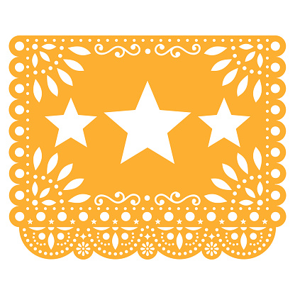 Papel Picado vector design with three stars in yellow, Mexican paper decoration with flowers and geometric shapes