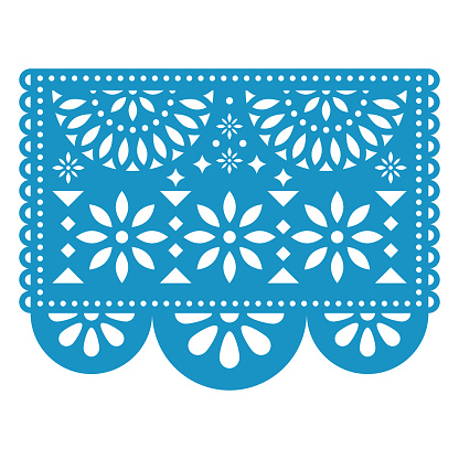 Papel Picado vector floral design with flowers, traditional Mexican party decorations