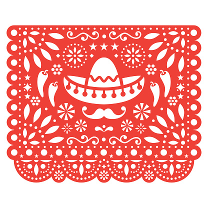 Papel Picado vector floral design with sombrero and chili peppers, Mexican paper decorations template in orange, traditional fiesta banner