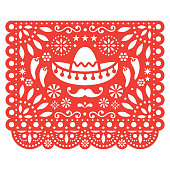 Folk art, retro ornament form Mexico, cut out composition with flowers and abstract shapes isolated on white