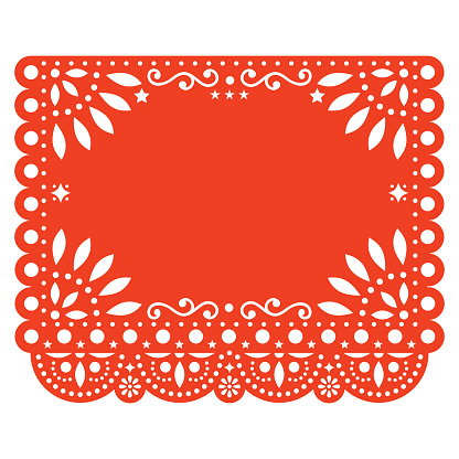 Papel Picado vector floral template design with abstract shapes, Mexican paper decorations pattern in orange, traditional fiesta banner with empty space for text