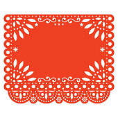Folk art, retro ornament form Mexico, orange cut out composition with flowers and abstract shapes isolated on white