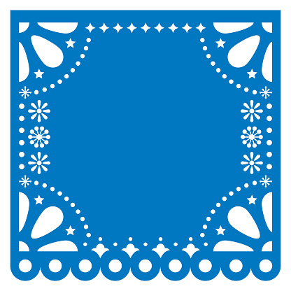 Papel Picado vector square template design with empty space for text, blue Mexican paper cut out decoration with flowers and geometric shapes - greeting card or invitation