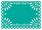 Traditional banner form Mexico, Cut out floral retro composition isolated on white