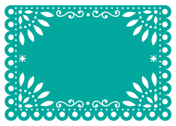 Papel Picado vector template design in turquoise, Mexican paper decoration with flowers and geometric shapes Traditional banner form Mexico, Cut out floral retro composition isolated on white mexico stock illustrations