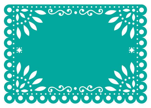 ilustraciones, imágenes clip art, dibujos animados e iconos de stock de diseño de plantilla de vector papel picado en la decoración de papel turquesa, mexicano con flores y formas geométricas - méxico